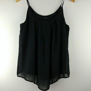 Miss Avenue black chiffon asymmetrical tank top